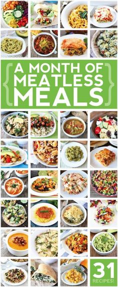 '31 Meatless Meals' fromTwo Peas and Their Pod If your goal is to eat more plant-based meals then this is a great collection of recipes to last you all month long! * Remember- vegetarian doesn't necessarily mean weight loss friendly, so make sure you choose recipes that meet your dietary goals!