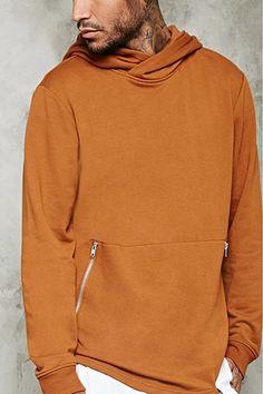 Zippered Kangaroo Pocket Hoodie | 21 MEN - 2000199767