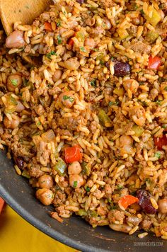 Syn Free Spicy Beef, Beans and Rice | Slimming World Slimming World Vegetarian Recipes, Slimming Recipes, Healthy Eating Recipes, Diet Recipes, Cooking Recipes, Healthy Meals, Recipies, Minced Beef Recipes, Prawn Recipes