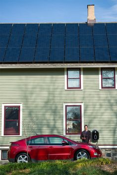 """One of the keys to Matt's net-zero home is a south-facing roof. For just $19,000 he was able to line the entire south side of it with solar panels that now power everything in the house and even the car in the driveway. """"We took out a 5-percent loan for the solar,"""" he says.  """"And in three years, the solar loan will be paid off and we'll have no utility bill for the rest of our lives. Look at our current energy bill, actually, and you'll see we made $88 last month."""" (Photo courtesy Matt Grocoff) Diy Solar System, Utility Bill, Thermal Mass, Solar Panels For Home, Energy Bill, Passive Solar, The Rest Of Us, He Is Able, Sustainable Living"""