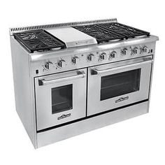 Stainless - Enjoy cooking for the entire family this holiday season with this professional quality stainless steel gas range and dual oven from Thor Kitchen. The gas range features two side-by-side ovens Kitchen Stove, New Kitchen, Kitchen Decor, Island Kitchen, Kitchen Ideas, Kitchen Countertops, Country Kitchen, Kitchen Ranges, Kitchen Dining