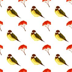 "Bird and pome seamless pattern by @yamachem, This is the remix of "" vector autumn icons set "" uploaded by freeiconsweb.Thanks.This is a seamless pattern which depicts a wild bird and a bunch of red pome., on @openclipart"