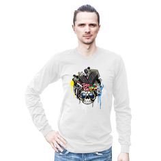Monster Brain Long Sleeve Unisex T-Shirt This long-sleeved t-shirt is made of the ultra-smooth American Apparel cotton, and adds the sensibility of long sleeves. The sleeves are cuffed at the hand, to make for a tapered look. The t-shirt is made out of 100% cotton, except for the heather grey color (90% cotton, 10% polyester).