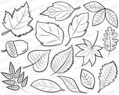 Autumn Leaves Digital Stamps Clipart  black by InkeeDoodles, $4.50