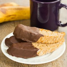 Chocolate-Dipped Banana Bread Biscotti | Brown Eyed Baker