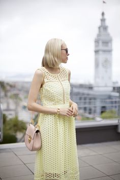yellow eyelet dress by shop lombard and fifth pink chloe drew bag