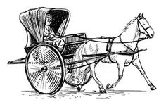 A chaise was a light horse-drawn pleasure carriage, with two or four wheels and a folding hood. Typically, it carried one or two people. Click here for further information about types of carriage.