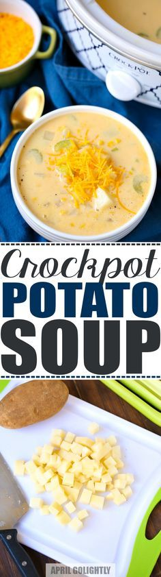 Easy Slow Cooker Potato Soup Recipe made in the crockpot with russet potatoes, vegetable broth, cheese, and topping ideas bacon, green onions, and olives