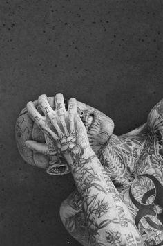 Rick Genest & Shaun Ross by Joachim Baldauf Rick Genest, Boy Tattoos, Tatoos, Tattoo Boy, Band Tattoo, Shaun Ross, Grunge, Full Body Tattoo, Tattoo People