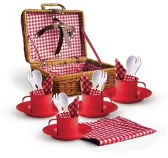 This childrens picnic basket comes complete with red powder coated metal mugs and plates , plastic cutlery,gingham napkins and a tablecloth, all packed inside the very practical wicker basket. Wicker Picnic Basket, Wicker Baskets, Old Fashioned Toys, Cane Baskets, Picnic Set, White Napkins, Plastic Spoons, Basket Decoration, Classic Toys
