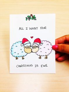 Funny Christmas Card for Funny Christmas Card for Boyfriend, All I want for Christmas is ewe, cute Christmas card for girlfriend, funny xmas card, pun, ewe cartoon by LoveNCreativity