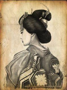 Geisha portrait by ~deboratsuki on deviantART