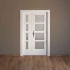 Puerta maciza abatible doble con fijo y vidriera con acabado lacado color blanco. Vidrio incluido. Apertura derecha. Medidas de la hoja: 115 (42,5 y 72,5) x 203 x 3,5...