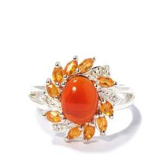 Fire Opal Ring in Sterling Silver 1.85cts