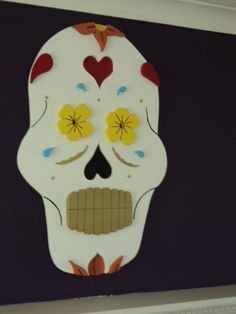 Large flower skull tattoo inspired 3 dimensional wooden wall hanging. £210.00