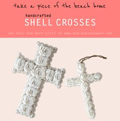 We sell seashells by the seashore! Bring the beach back from your vacation with these intricate, handmade shell crosses. Perfect to display in your home or give as a gift to family or friends! Find more seashell items and other great gifts at Eagles Beachwear Online now.