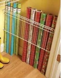 Perfect year round! Shelf above could hold ribbons, bows, tape, gift bags, etc.