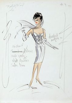 """Edith Head costume sketch for Natalie Wood in """"Sex and the Single Girl""""  1964."""