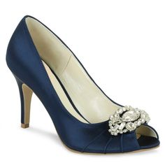 Pink Paradox London Women's Tender Peep-Toe Pump, Size: 10 M, Navy Satin Blue Satin Shoes, Blue Bridal Shoes, Sparkly Wedding Shoes, Blue Heels, High Heels Stilettos, Pink Paradox, Special Occasion Shoes, Crystal Shoes, Bride Shoes