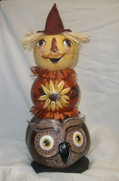 Autumn Gourd Totem - handpainted and crafted by Carolyn Lockwood - Hebron, OH