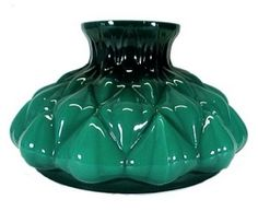 Cased Green Glass 10 in Student Kerosene Oil Lamp Shade. Hand Blown Artichoke Lighting Replacement Lampshade for Antique, Vintage or Contemporary Student Desk,Table, Kitchen or Hanging Library Lamp, or Hanging Chandelier. Fits Aladdin, but not Genuine Aladdin. Emerald Green Cased over Opal White Milk glass, raised Artichoke pattern, straight upper rim. Gorgeous!