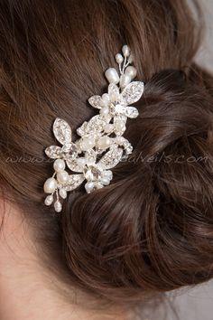 Peine del pelo de la boda tocado de novia por brendasbridalveils