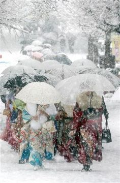 -Kimonos in the snow- Japan