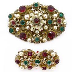 Vintage Art Deco Neiger Ornate Filigree Red & Green Glass Painted Brooch Set | Clarice Jewellery | Vintage Costume Jewellery