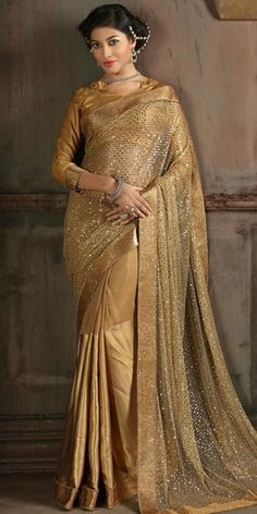 Beige Color Saree With Amazing Fancy Pallu.