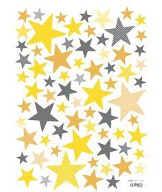 Stickers étoiles jaunes et grises