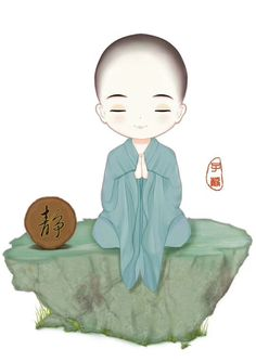 Inner renunciation actually brings you closer to your nature. When you renounce your attachment to everything, you are naturally calm. Agitation shows you where you aren't renouncing samsara. Chinese Landscape Painting, Little Buddha, Buddha Painting, Buddha Zen, Meditation Art, Cartoon Painting, Buddhist Art, Chinese Art, Cute Cartoon