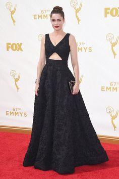 Emmys 2015 - Amanda Peete in Michael Kors with a Ferragamo clutch   - HarpersBAZAAR.com