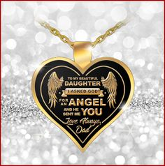 "To My Daughter.God Sent Me You! ♥ Would your Daughter love this beautiful necklace from you? Surprise her with this - Get Yours Now - She'll love it! ♥ ""To My Daughter. I Asked God For An Angel. Love Always, Dad"" My Beautiful Daughter, I Love Mom, Daughter Love, Father Daughter Necklace, Valentine Chocolate, Gift Of Time, 5 Min Crafts, Proud Dad, Heart Pendant Necklace"