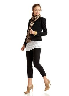 Outfit with leopard print scarf. Hate the shoes though....