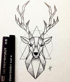 Bild von Hirsch und Zeichnung Imagen de deer and drawing - Monde Des Animaux Dotted Drawings, Art Drawings Sketches Simple, Pencil Art Drawings, Easy Drawings, Animal Drawings, Drawing Ideas, Badass Drawings, Geometric Deer, Geometric Drawing