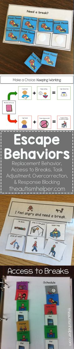 Escape Behaviors Many children (with & without autism) have misbehaviors that are used to get out of work. We look at escape behaviors & ways [. Autism Activities, Autism Resources, Aba Therapy Activities, Children Activities, Autism Classroom, Special Education Classroom, Classroom Behavior Chart, Inclusion Classroom, Behavior Charts
