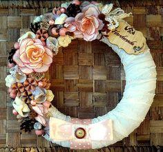 Vintage kopogtató - barack (27 cm) (pinkrose) - Meska.hu Floral Wreath, Wreaths, Vintage, Home Decor, Flower Crown, Decoration Home, Door Wreaths, Deco Mesh Wreaths, Interior Design