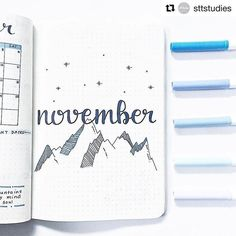 FABULOUS November Bullet Journal Themes {Cover pages and plan with me videos to inspire you!} - Tatjana - FABULOUS November Bullet Journal Themes {Cover pages and plan with me videos to inspire you!} mountains cover page for november Bullet Journal - Bullet Journal Novembre, December Bullet Journal, Bullet Journal Monthly Spread, Bullet Journal Cover Page, Bullet Journal Writing, Bullet Journal Inspo, Bullet Journal Layout, Journal Covers, Junk Journal