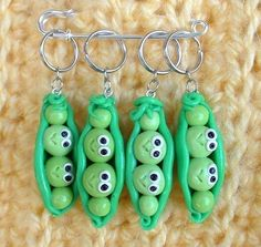 Sweet Peas knitting or crochet stitch markers  set by TheClaySheep, $16.00