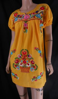 Vtg 70s Adorable Yellow Mexican Floral Flower Embroidered Oaxacan Artisian Boho Maxi Hippie Tent Caftan Sun Dress