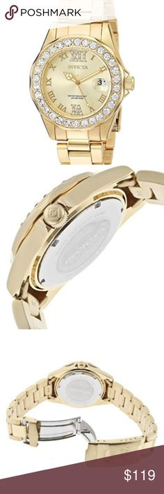 Invicta Women's Pro Diver Gold Dial Watch Round watch in 18k yellow gold ion-plated finish featuring 30 white crystals at bezel & 20 smaller white crystals at Roman numeral 12 and 6 38 mm stainless steel case with mineral dial window.  Band size:18mm. Band length: 215mm. Stones size: 1mm Japanese quartz movement Water resistant to 200 m (660 ft)  📌SHIPPING 📦: Please allow 2-3 Business days as I need to pick them up from my business.  📌BUNDLE & SAVE: 15% discounted on 2+ when BUNDLE…