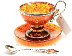 Amber and silver tea set