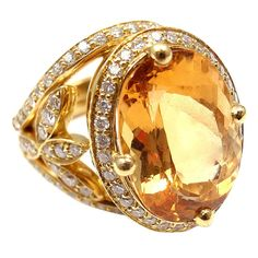 View this item and discover similar for sale at - Yellow Gold Diamond Imperial Topaz Pave Halo Vine Ring by Temple St Clair. With in Diamonds. And in Imperial Topaz. Topazio Imperial, Topaz Jewelry, Gold Jewelry, Fine Jewelry, Jewelry Rings, Topaz Earrings, Yellow Jewelry, Yellow Gold Rings, Vintage Engagement Rings