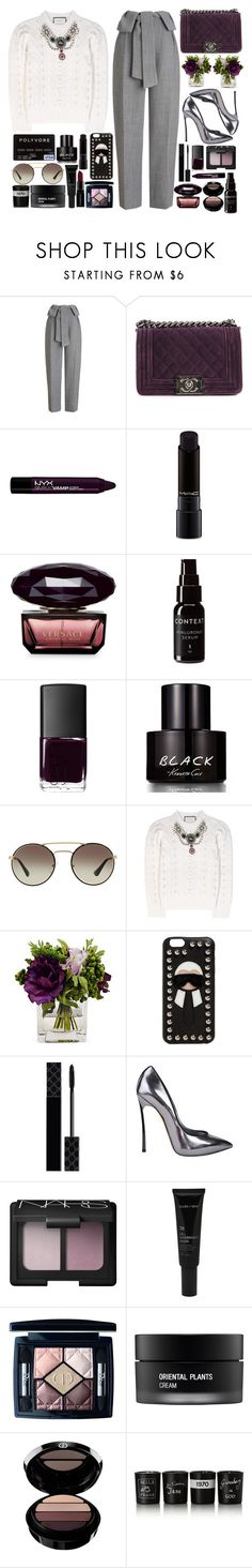 """""""Ariana Grande -Dangerous Woman"""" by tamaramanhardt ❤ liked on Polyvore featuring Whistles, Chanel, NYX, MAC Cosmetics, Versace, Context, NARS Cosmetics, Kenneth Cole, Prada and Gucci"""