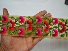 Wholesale Magenta Embroidery Fabric Trim and Embellishment Indian Trim By 9 Yard Embroidered Saree Border Decorative Sewing Crafting Puoi acquistare dalla nostra App What no. Embroidery Fabric, Floral Embroidery, Embroidery Designs, Lace Fabric, Embroidery Stitches, Machine Embroidery, Magenta, Floral Vintage, How To Make Purses