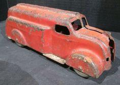 Antique Toys, Vintage Toys, Vintage Antiques, Metal Toys, Tin Toys, Oil Tanker, Front Grill, Vintage Classics, Toy Trucks