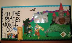"A bulletin board display inspired by Dr. Seuss' book ""Oh, The Places You'll Go."""