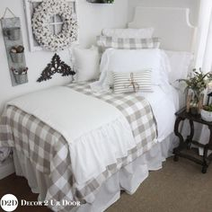Shabby Chic and trendy dorm room bedding Custom designs Farmhouse Tan Gingham Check Plaid Duvet Designer Dorm Bedding Set Dorm Bedding Sets, Red Bedding, Luxury Bedding Sets, Comforter Sets, King Comforter, College Bedding, College Dorms, Girls Bedroom Sets, Bedroom Red