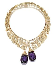18 KARAT GOLD, DIAMOND AND AMETHYST 'BOTTICELLI' NECKLACE, VAN CLEEF & ARPELS - Sold at Sotheby's New York in October 2009 for $194,500 USD