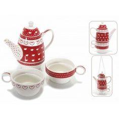 Set teiera con 2 tazze tazzine tè porcellana shabby fiori cuori